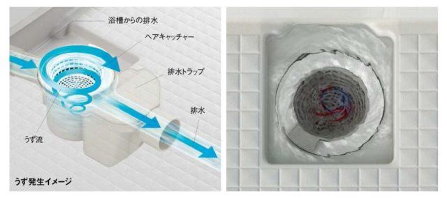 リノビオのバスルームの排水口