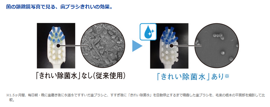 「きれい除菌水」の歯ブラシの除菌効果